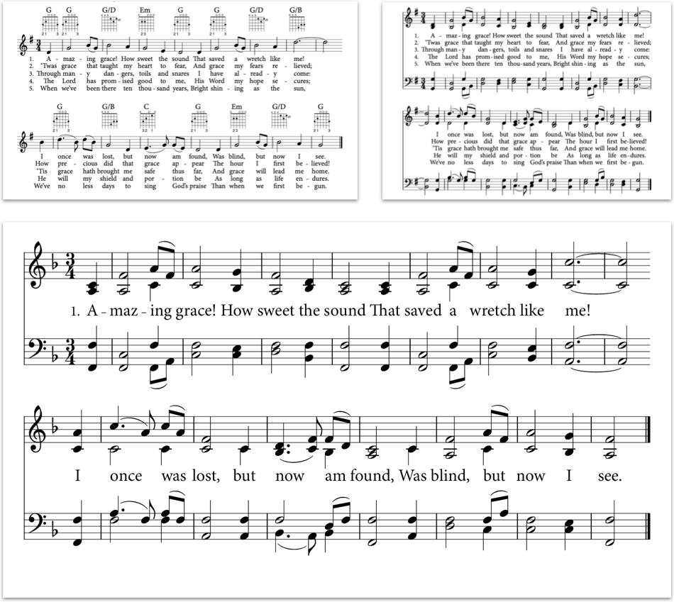 Amazing grace in lead sheet, hymn sheet, and projection-style notation