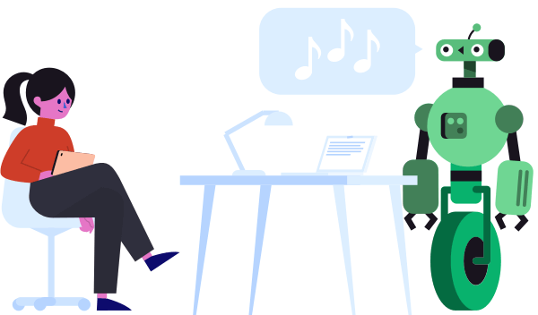 Illustration depicting a woman sitting behind a laptop with a musical robot next to her